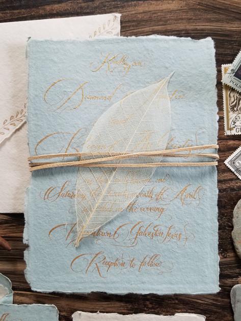 Wedding Invitation Gold Calligraphy Handmade Paper.jpg