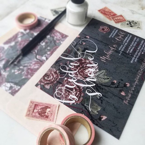 Bridal Shower Invitations Charcoal + Blush + Burgundy