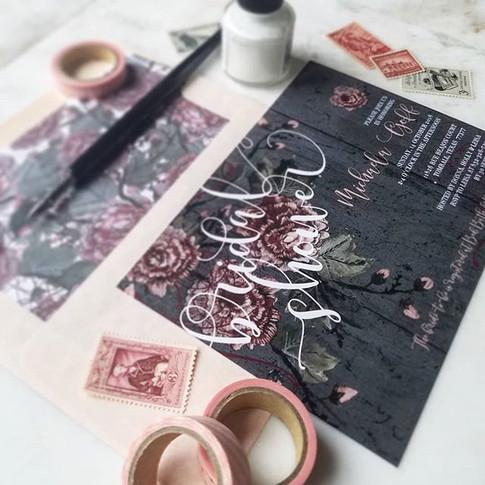 Bridal Shower Invitations Charcoal + Blush + Burgundy