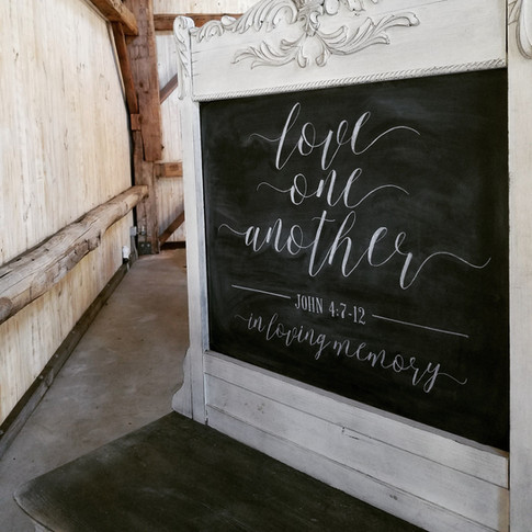 Love One Another Wedding Chalkboard Sign Vintage Dresser