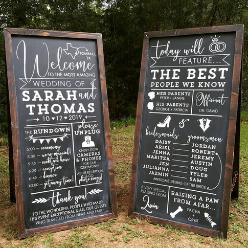 Wedding Chalkboard Sign Welcome Ceremony Program Schedule of Events