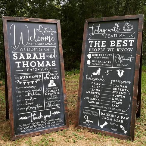 Wedding Chalkboard Sign Welcome Ceremony Program Schedule of Events
