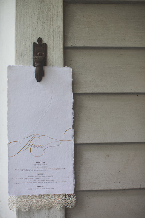 Wedding Menu Gold Calligraphy Cotton Paper Lace.jpg