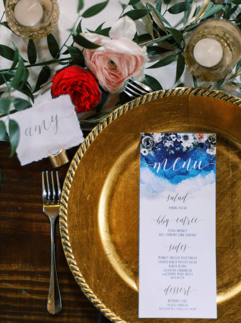 Wedding Place Setting Gold Calligraphy Menu