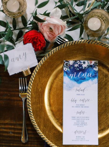 Wedding Place Setting Gold Calligraphy Menu