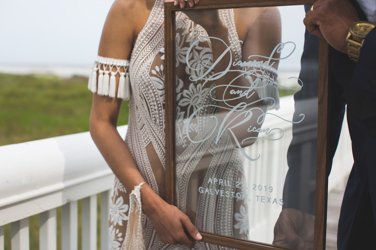 Wedding Welcome Sign Glass Hand Lettering