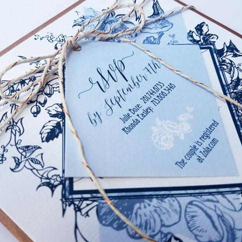 Bridal Shower Invitations Navy + Copper + Ice Blue