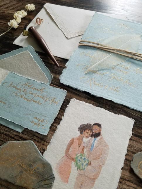 Wedding Invitation Suite Gold Calligraphy Illustration Cotton Paper