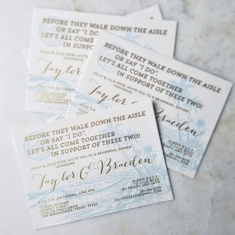 Wedding Rehearsal Dinner Invitations Letterpress Foil Ice Blue + Gold