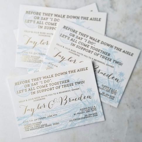 Wedding Rehearsal Dinner Invitations Letterpress Foil Ice Blue + Gold