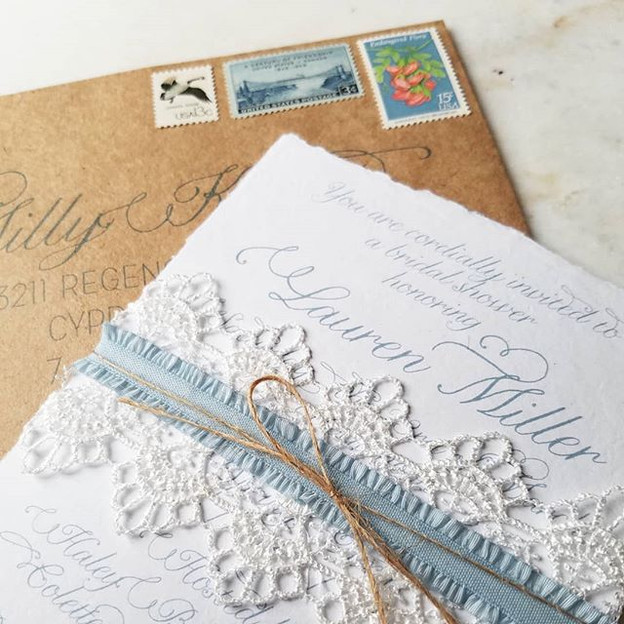 Wedding Bridal Shower Lace Recycled Kraft Paper