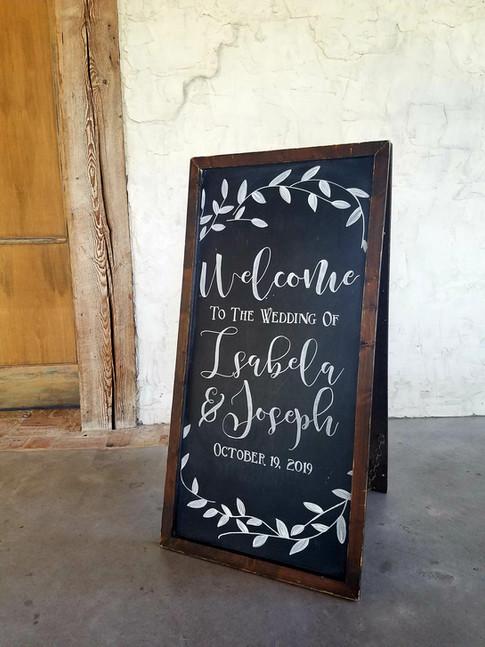 Wedding Welome Chalkboard Sign