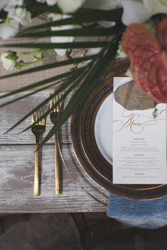 Wedding Place Setting Menu + Place Card Calligraphy