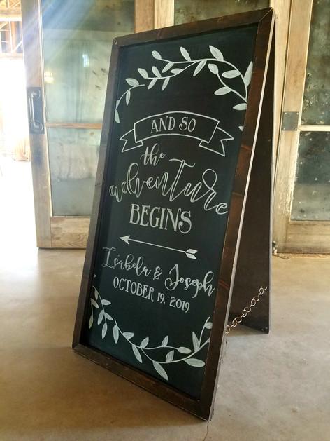 Wedding Adventure Begins Chalkboard Sign