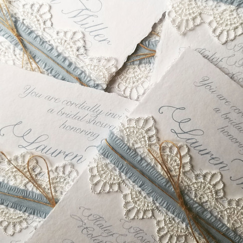 Wedding Bridal Shower Invitations Lace Recycled Paper Deckled Edge