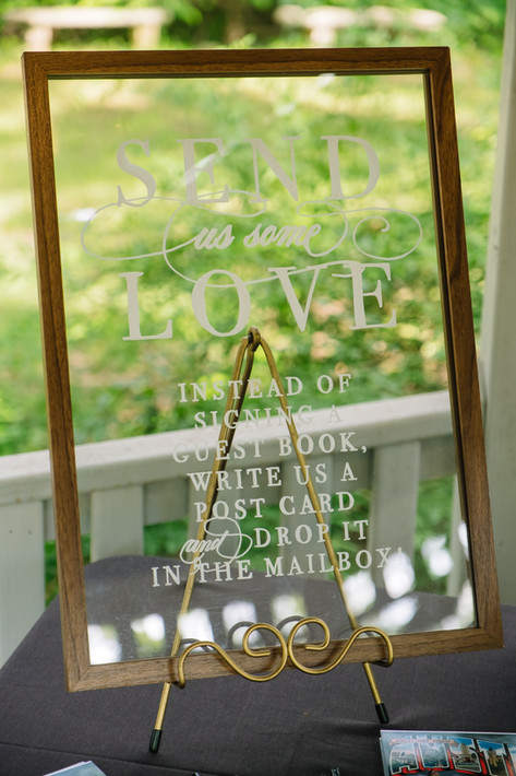 Send Us Some Love Postcard Wedding Guest Book Glass Sign.JPG