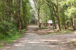 Campground driveway heading to barn