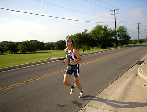 Jerry B finishing run at HOT Tri