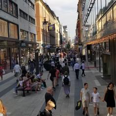 pedestrian shopping street in Stockholm