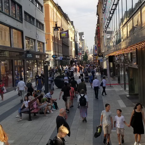 pedestrian shopping street in Stockholm