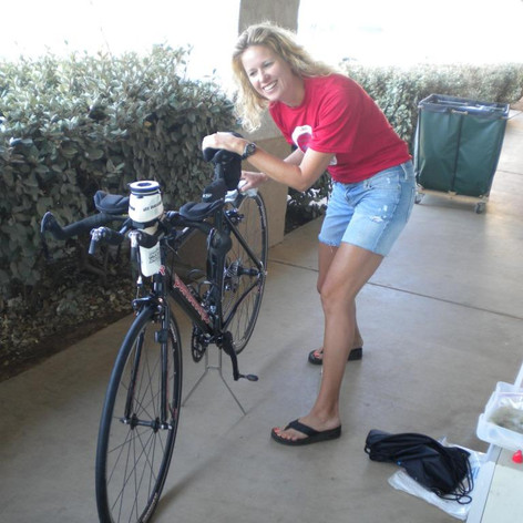 Cherie B Preping for First 70.3