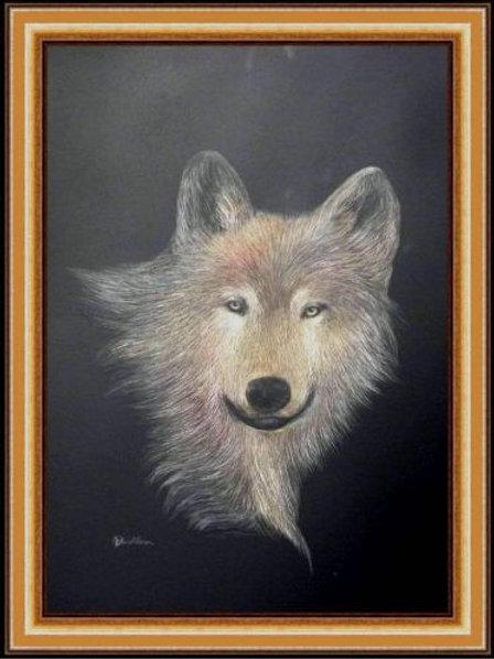 GRAY WOLF (SCRATCH BOARD ORIGINAL)