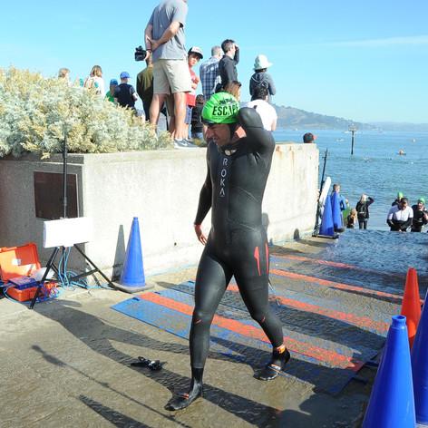 Regan P at Swim Exit at Excape from Alcatraz