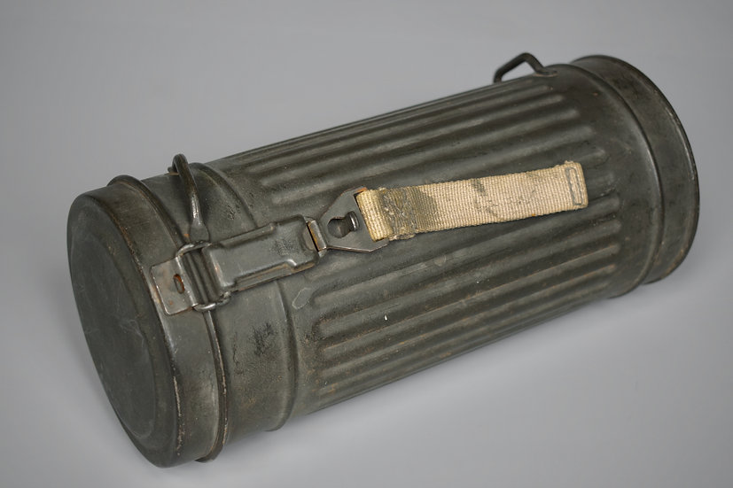 Late-war 1944 gas mask canister