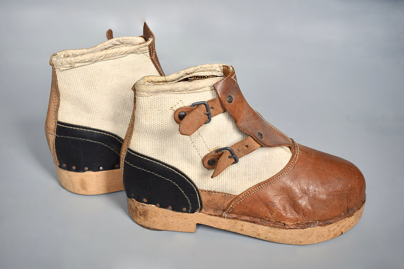 Late-war wood soled canvas boots