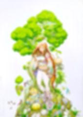 Anni en Ascii bij een boom.