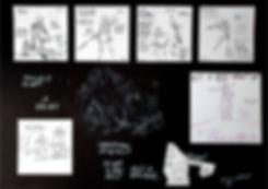Zwart-wit schetsen van Ænselynn en Ascii.