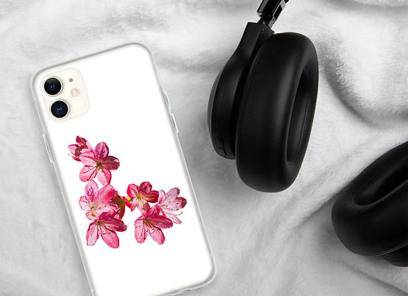 Pink Azalea on White iPhone Case
