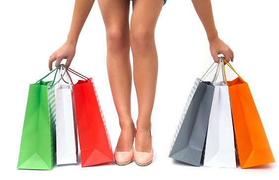girls shopping in high heels, generic shop bags