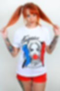tattoo shirts for women, tattoo clothing for women, harley quinn shirt, tattooed harley quinn, girl with piercings, tattoo t-shirts for women, plugs, gauges, stapaw