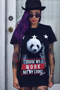 tattooed panda, womens tattoo shirts, tattoo and piercing acceptance in the workplace, stapaw, support tattoos and piercings at work, girls with piercings, tattooed and employed t shirt, female tattoo model