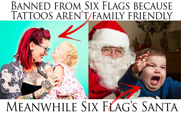 six flags, tattoo discrimination, piercing discrimination, santa, christmas
