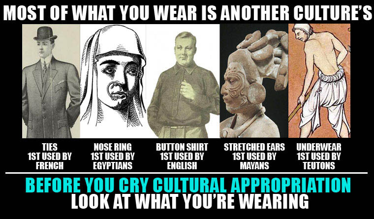 cultural clothing, cultural misappropriation, culture appropriation, cultural fashion, stretched ears, nose ring, nose rings, who invented ties, who invented button down shirts, who invented underwear