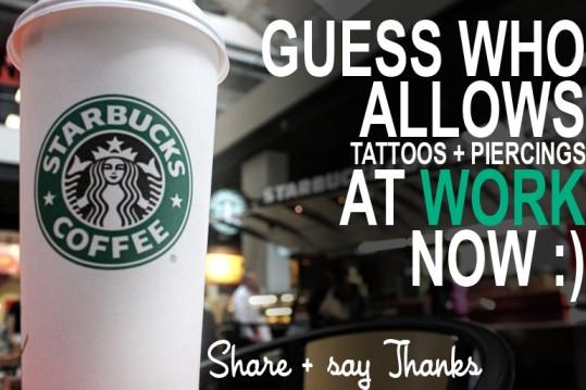 Starbucks Tattoos, tattoo acceptance in the workplace, starbucks employees, starbucks staff, dress code