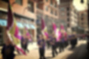 the landing parade, drill team marching, flag waving mall, purple marchers