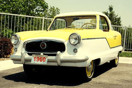 1960s yellow vehicle, display automobile