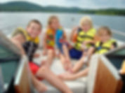 bull shoals, table rock, kids eating snacks, kids wearing life jackets