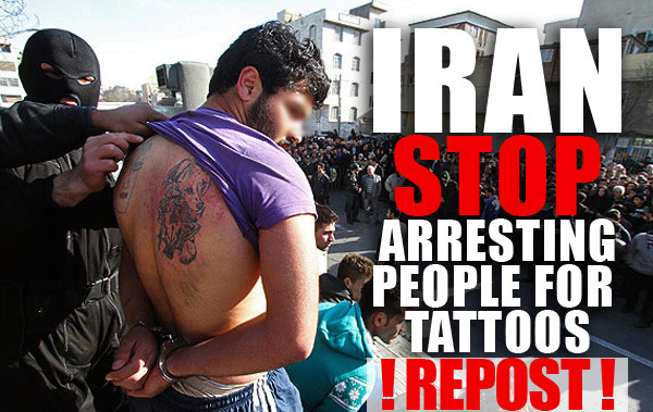 countries that do not allow tattoos, sharia law, ban tattoos, iranian tattoos, persian tattoos