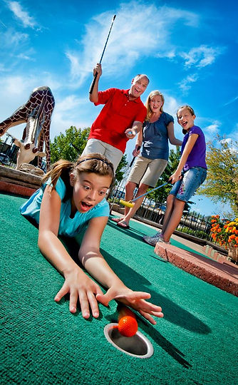 family golfing, orange golf ball, themed golf course