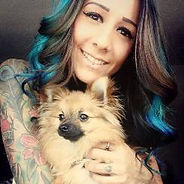 tattoos and piercings in the workplace, tattooed vet, inked pets, blue hair, labret piercing