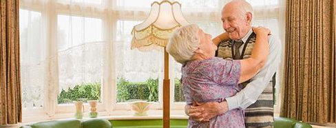 senior citizen couple, resort room, info