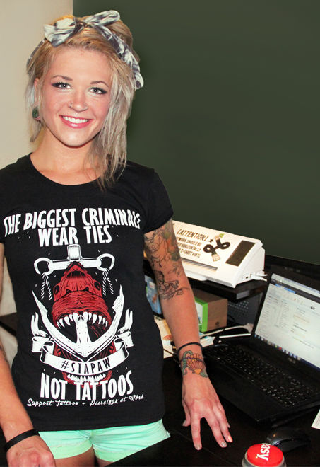 tattooed boss, online tattoo contest, rockabilly, tattoo shirt, womens tattoo clothing, taylor kowalski