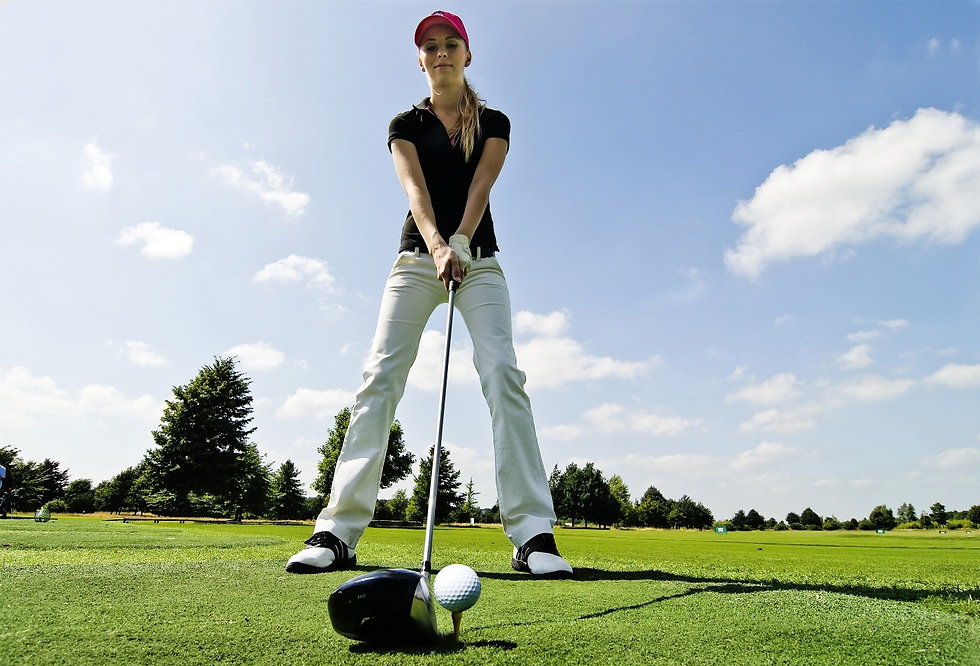 female golfing, tee off, golfing clubhouse