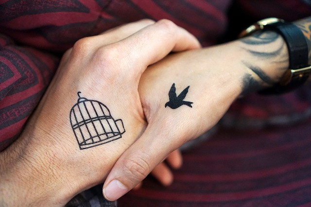 depression tattoos, anxiety tattoos, birdcage, sparrow, black and grey work