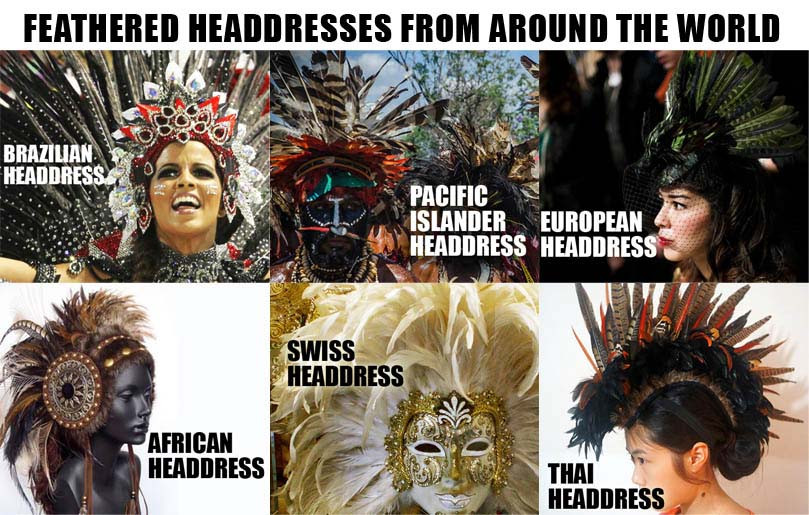 culture appropriation, feather headpiece, headdress feathers, brazilian headdress, pacific islander headdress, european headdress, african headdress, swiss, thai