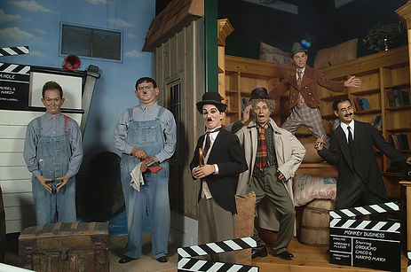 life like wax sculptures, marx brothers, charlie chaplin, laurel and hardy